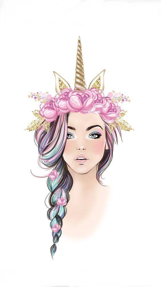 Unicorn Wallpaper Girl Drawing Cute Drawings