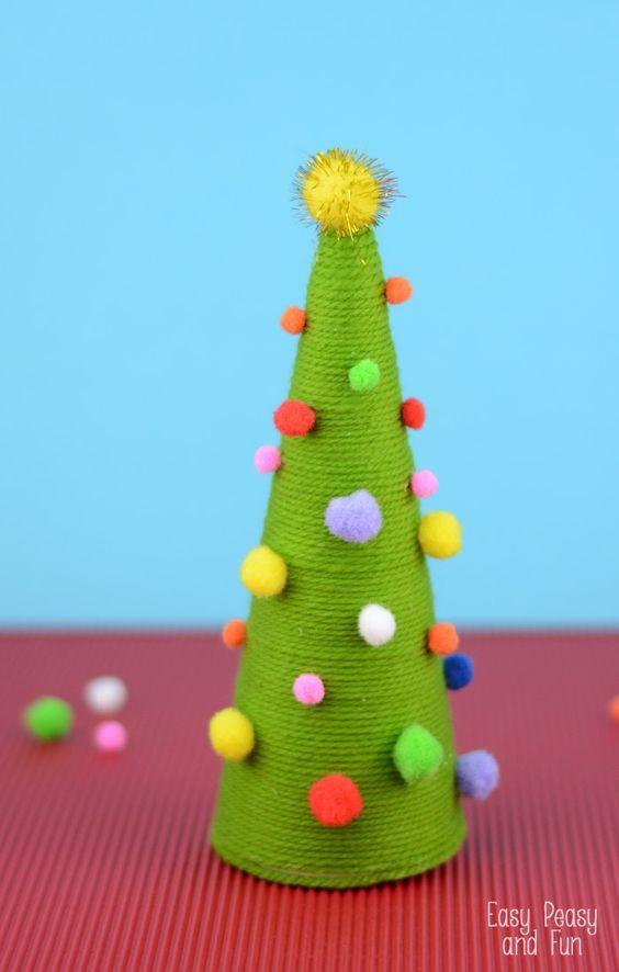Pom Pom Cone Christmas Tree Craft Christmas trees, Navidad and For