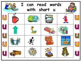 Worksheets U Words For Kids kindergarten word work short vowels and i on pinterest vowel u bingo game work