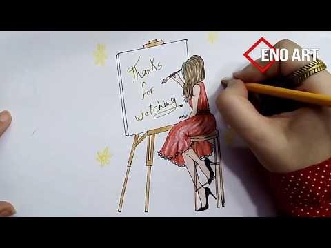 رسم سهل بنت ترسم ترتدى فستان احمر خطوة بخطوة Youtube Girl Drawing Hair Accessories Art