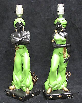 Pair Vintage Mid Century Retro Plaster Chalkware Genie Lamps Blackmoor Nubian | eBay