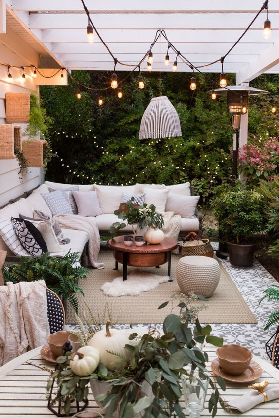 Small Terrace Design Ideas With L Shaped Sofa And Lights And Lanterns Fall Patio Outdoor Patio Space Backyard Decor