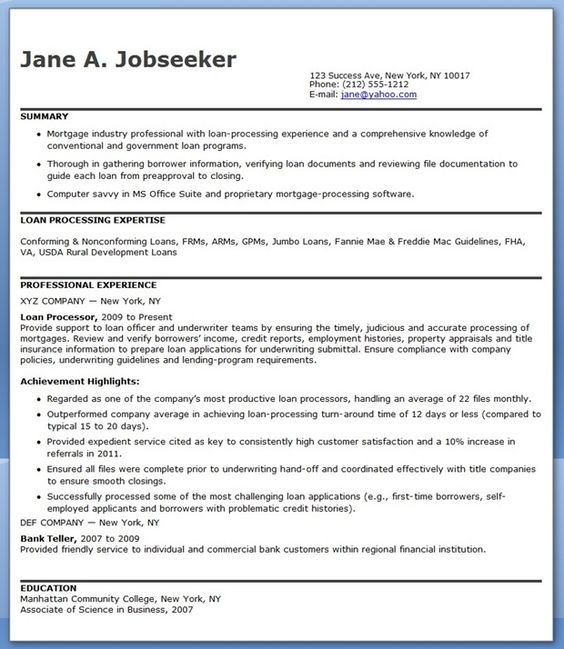 Actuarial Cover Letter: Resume Templates Loan Processor