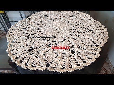 Toalha de mesa redonda de croche ponto abacaxi