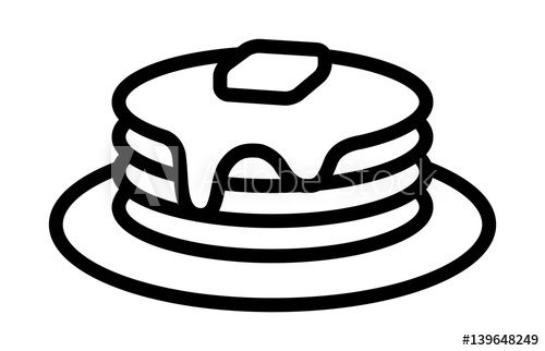 Breakfast Pancakes With Syrup And Butter On A Plate Line Art Icon For Food Apps And Websites In 2021 Art Icon Pancakes Clipart Line Art
