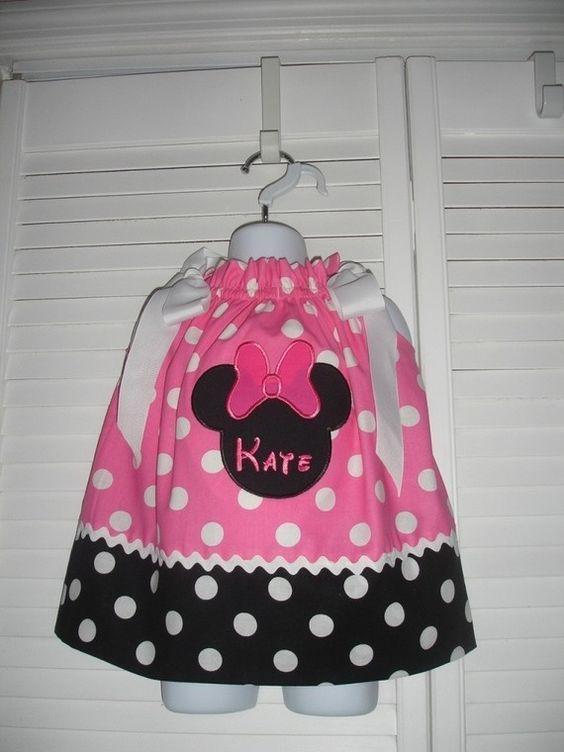 Pink & White Minnie Mouse pillowcase dress