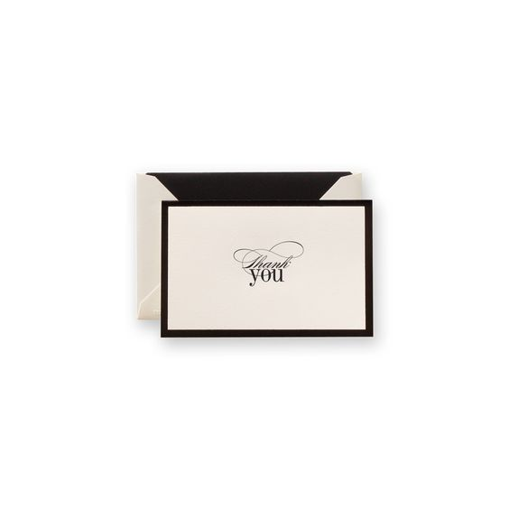 Engraved Black Border Thank You Note: Simply sophisticated, a black foil border works with a type both romantic and modern to make this thank you note the perfect choice for the Black Tie affairs and winter dinner party alike.