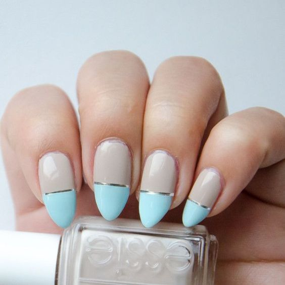 Light Blue French Tip With Silver Strip Nail Art