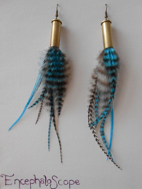 Feather earrings - Bullet shell jewelry - Blue, black and white - Natural grizzly rooster feathers - Long - E002