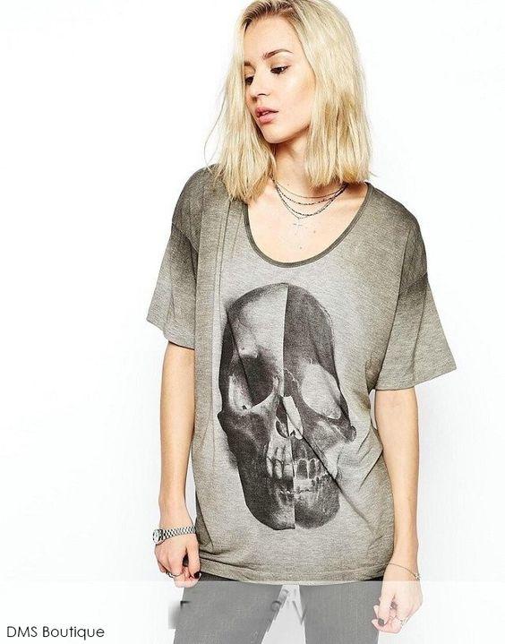 camiseta feminina de caveira