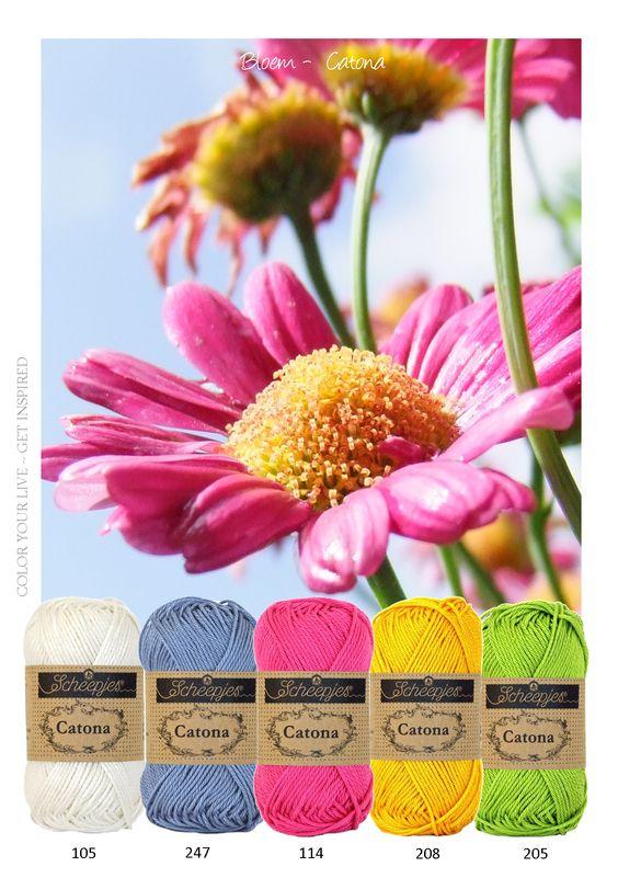 Kleurinspiratie - bloem - Frisse lente tinten - Wit Blauw - Roze - Geel en Groen. Om mee te haken of te breien. katoen van Catona