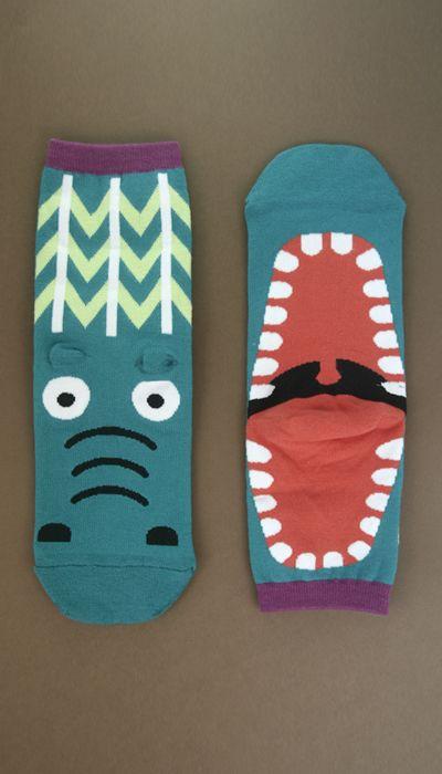 Crocodile Yawning Like Hippo Ankle Socks