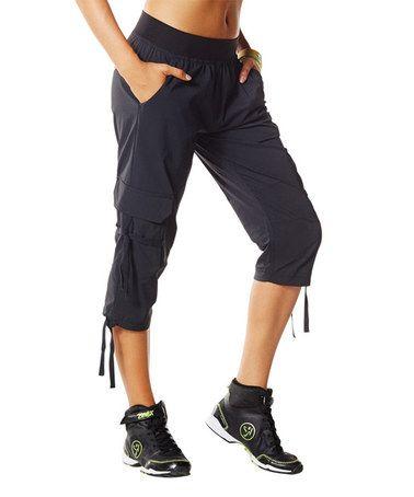 Love this Sew Black Oh-So-Soft Stretch Cargo Capris by Zumba® on #zulily! #zulilyfinds