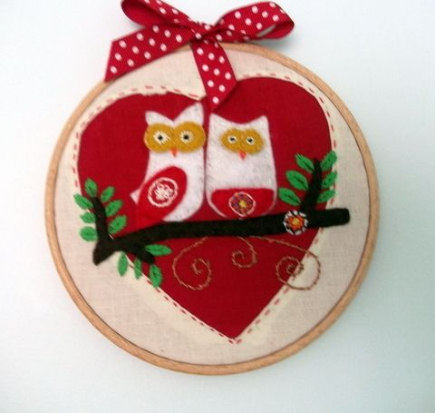 Owl Love Embroidery Hoop - Folksy