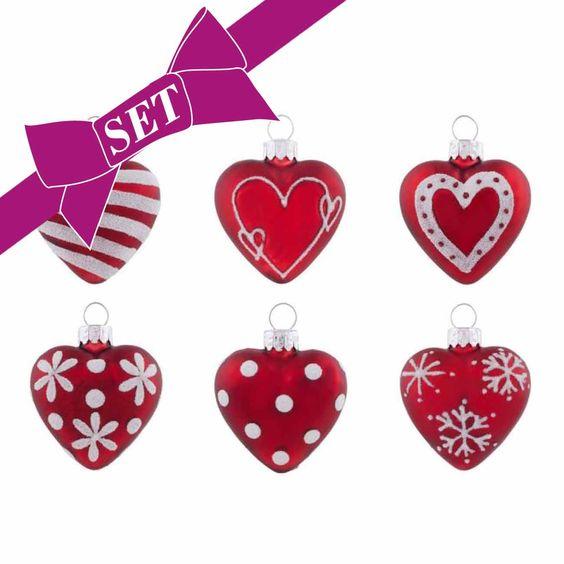 desiary.de - Weihnachtskugel Set Herz rot/weiß