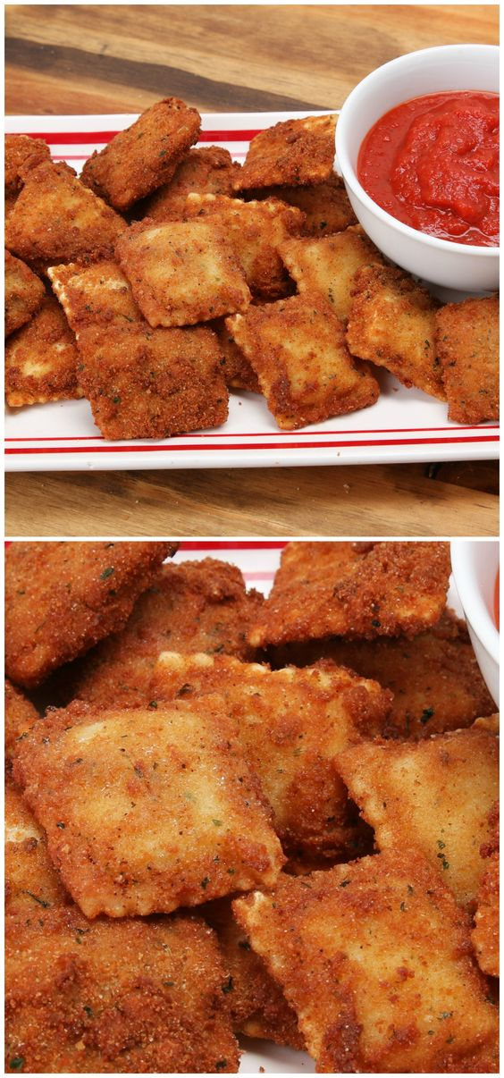 Fried Ravioli Fresh or Thawed Frozen Ravioli Flour Egg Wash (3 Eggs and 1/4 Cup Milk) Italian-Style Bread Crumbs (or plain breadcrumbs with dried basil and oregano) Marinara Sauce (for dipping) Vegetable Oil (for frying)  Directions: If your ravioli is frozen, allow to thaw before breading. Dredge the ravioli in flour, then egg wash (allow excess to drip off), then bread crumbs. Fill a large pot or skillet with 2 inches of oil and bring up to 350°F / 180°C. fry 1 min per side