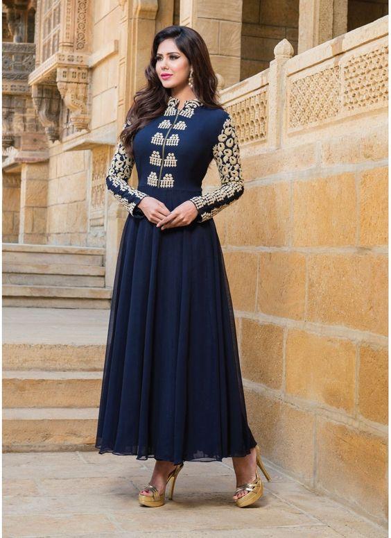 Couleur Bleu de Concepteur Indien Anarkali Churidar Kameez en Georgette