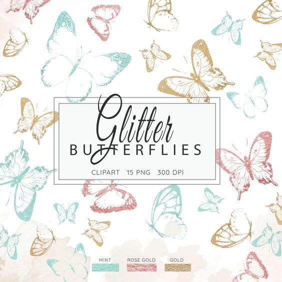 Glitter Butterflies Clipart Gold Foil Butterfly Magical Etsy Butterfly Clip Art Butterfly Illustration Clip Art