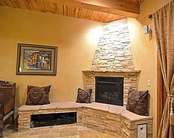 Stacked-Stone Fireplace...Cozy Up! | by Rutherford Design ...