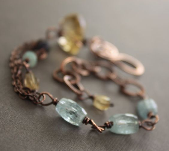 Artisan linked copper bracelet with citrine by IngoDesign on Etsy, $39.00