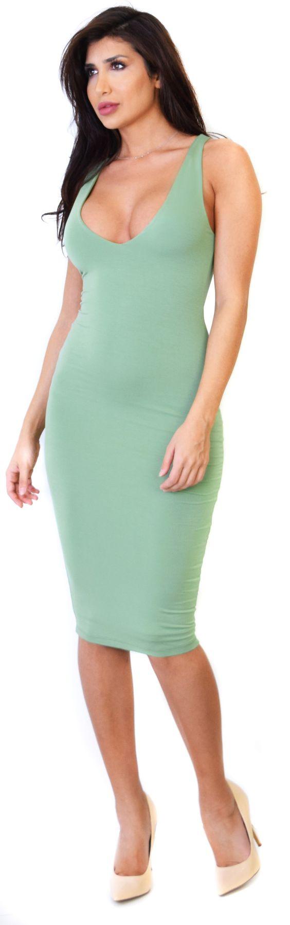 Basil V Neck Midi Dress