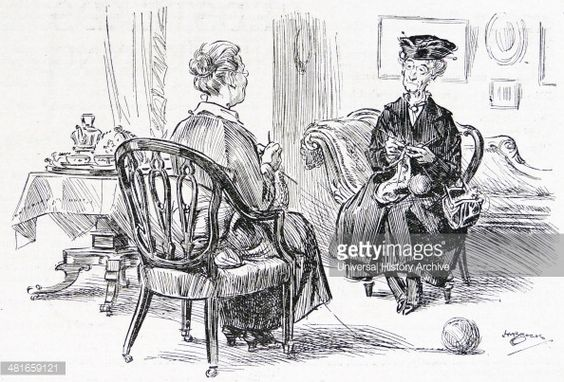 Английские дамы вяжут     News Photo : Two middle class British women knitting socks