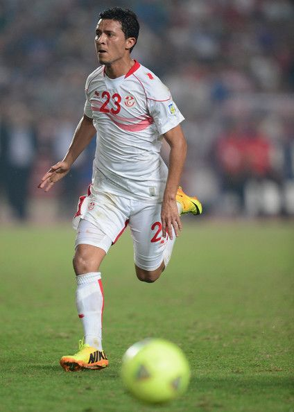Amin Chermiti of Tunisia in action during the FIFA 2014 World Cup qualifier at the Stade Olympique de Radès on October 13, 2013 in Rades, Tunisia.