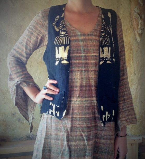 African Cloth Mud colors Vest Tribal Patterns