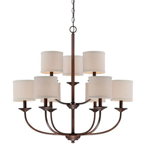Millennium Lighting 3119 Jackson 9 Light 2 Tier Chandelier Rubbed Bronze Indoor Lighting Chandeliers