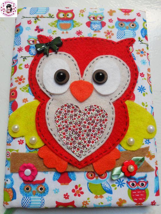 Bolsa De Tecido Decorada Com Coruja : Caderno decorado com tecido e feltro corujinhas