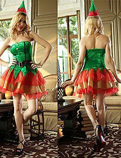 Anjo Naughty Girl Costume Velvet Natal Verde