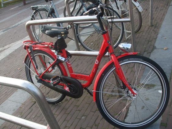 red bike with a number