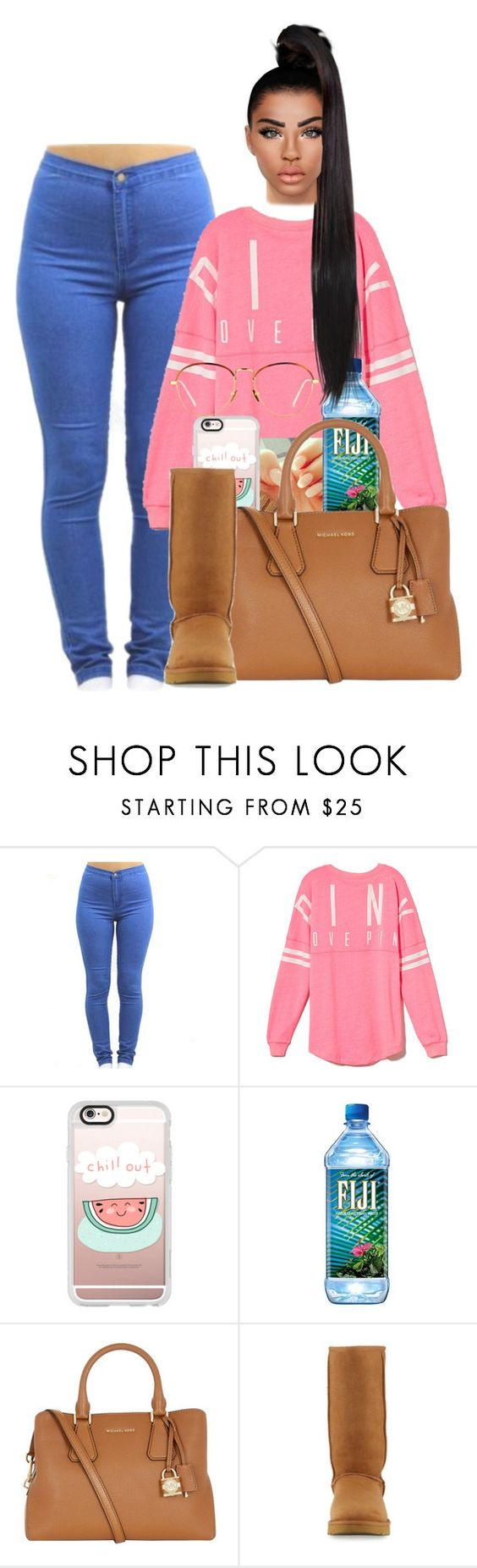 """Untitled #1530"" by melaninprincess-16 ❤ liked on Polyvore featuring Victoria's Secret PINK, Casetify, MICHAEL Michael Kors, UGG and Linda Farrow"
