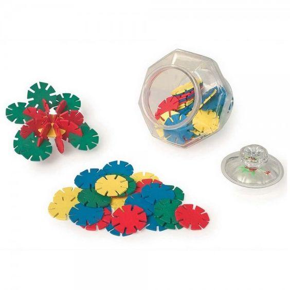 Stelle ad Incastro 48 pezzi in un recipiente per la conservazione in plastica trasparente.