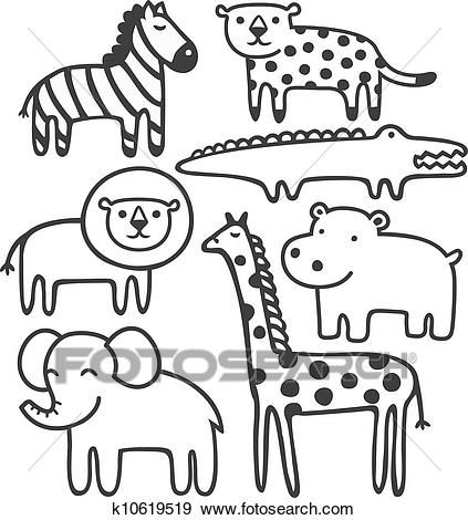 Wild Animals In Black And White Vector Illustration Set Clip Art K10619519 Animal Coloring Pages Zoo Animal Coloring Pages Animals Wild