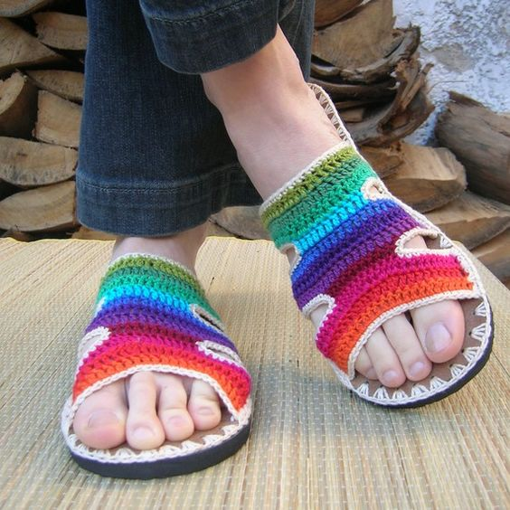Rainbow Crocheted Sandals with natural suede