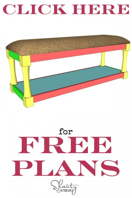 Print Free Plans DIY Upholstered Bench via Shanty-2-Chic. Thinking this would be a good solution for our small space in the casita. We could keep the computers on the shelf below, prop our feet up when we want to relax, and if we put it on casters, we could move it around.