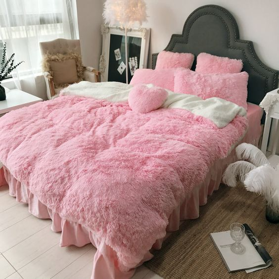 Pink Fluffy Bedding Set Cover Bed Sheet Warm Mink Cashmere Cover Pillowcase - Target