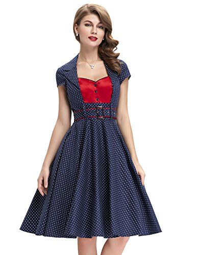 Cotton Matched Belt Swing KneeLength Polka Dot Homecoming Casual Dresses Navy BlueL BP402 -- Details can be found by clicking on the image.