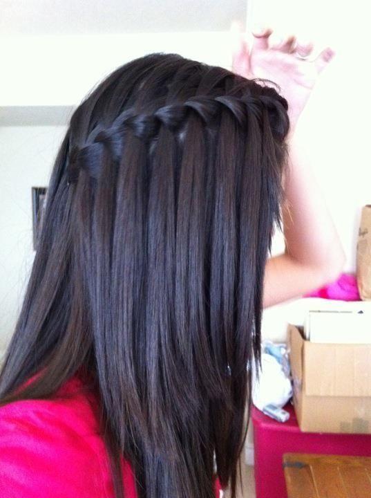 15 Photo Waterfall Braid Hairstyle Black Hair Medium Length Hair Straight Medium Length Hair Styles Short Hair Styles Easy