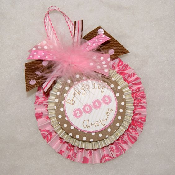 Pink Damask and Brown Polka Dots Baby's 1st Christmas Keepsake Ornament by shoplissy, $7.45