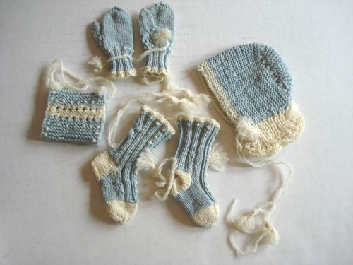 Vintage French German Bisque Doll Clothes Hand Knit Hat Mittens Socks Muff | eBay