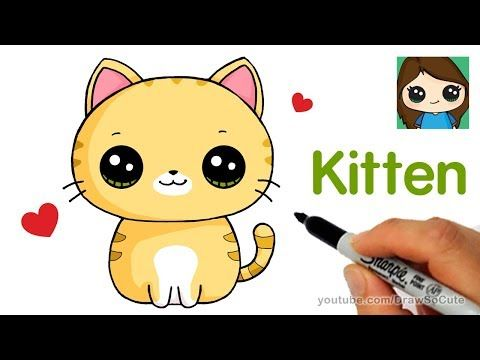 How To Draw Color Nyan Cat Step By Step Easy And Cute Youtube Kitten Drawing Cat Drawing For Kid Cartoon Cat Drawing