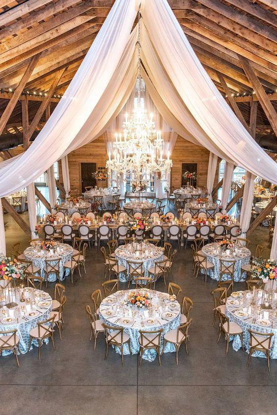 100 Rustic Wedding Ideas For 2019 Country Barn Wedding With White Drapery Hanging Decor Barn Wedding Decorations Barn Wedding Reception Country Barn Weddings