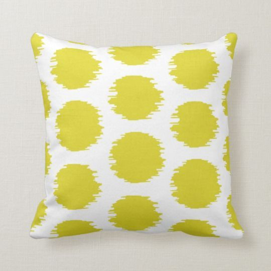 Ikat Dots Bright Yellow White Print Throw Pillow Zazzle Com