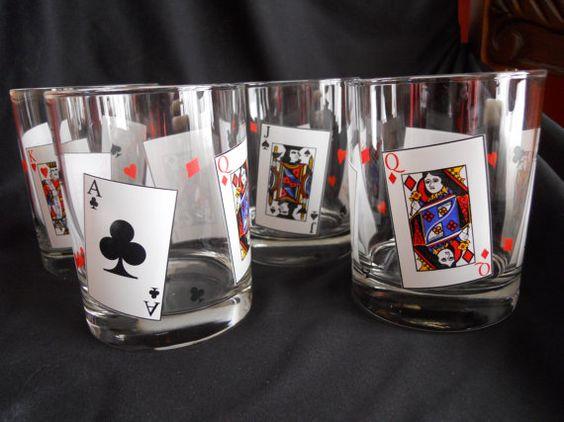 Vintage Set of 4 Highball Glasses Card Suits by SlyfieldandSime, $22.00