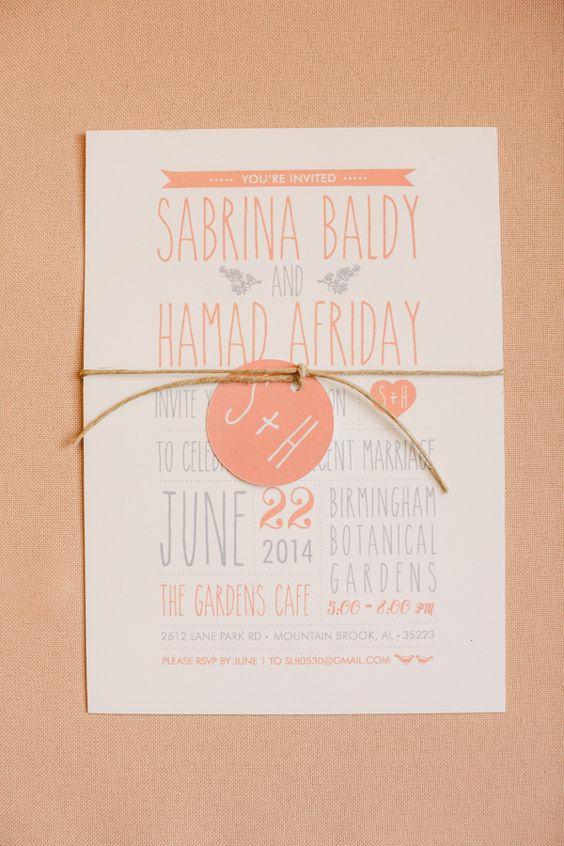 peach and grey invitations, photo by Mary Margaret Smith http://ruffledblog.com/birmingham-botanical-gardens-wedding #weddinginvitations #stationery: