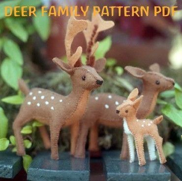 DEER Family Pattern PDF, Felt Sewing Pattern, Buck, Doe, Fawn, Felt Toy, Woodland- Instant Download