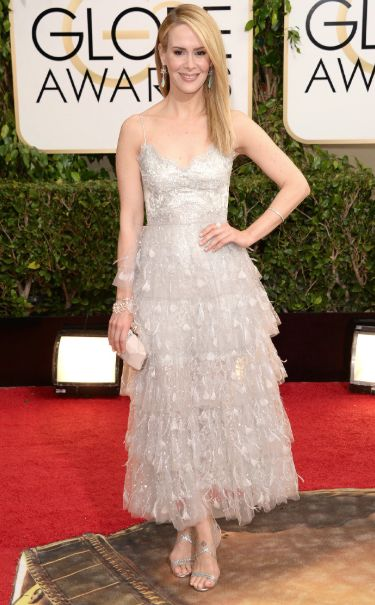 sarah paulson in marchesa at the 2014 golden globes