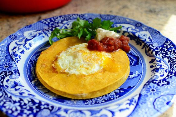 Egg in the hole w/ tortillas. Oh Pioneer Woman, I love thee.
